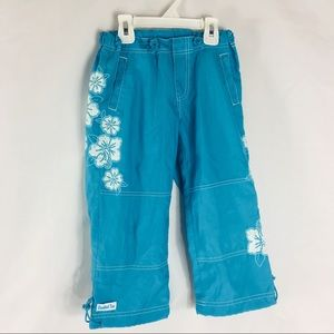 Limited Too Blue Hibiscus Flower Pants EUC Size 8